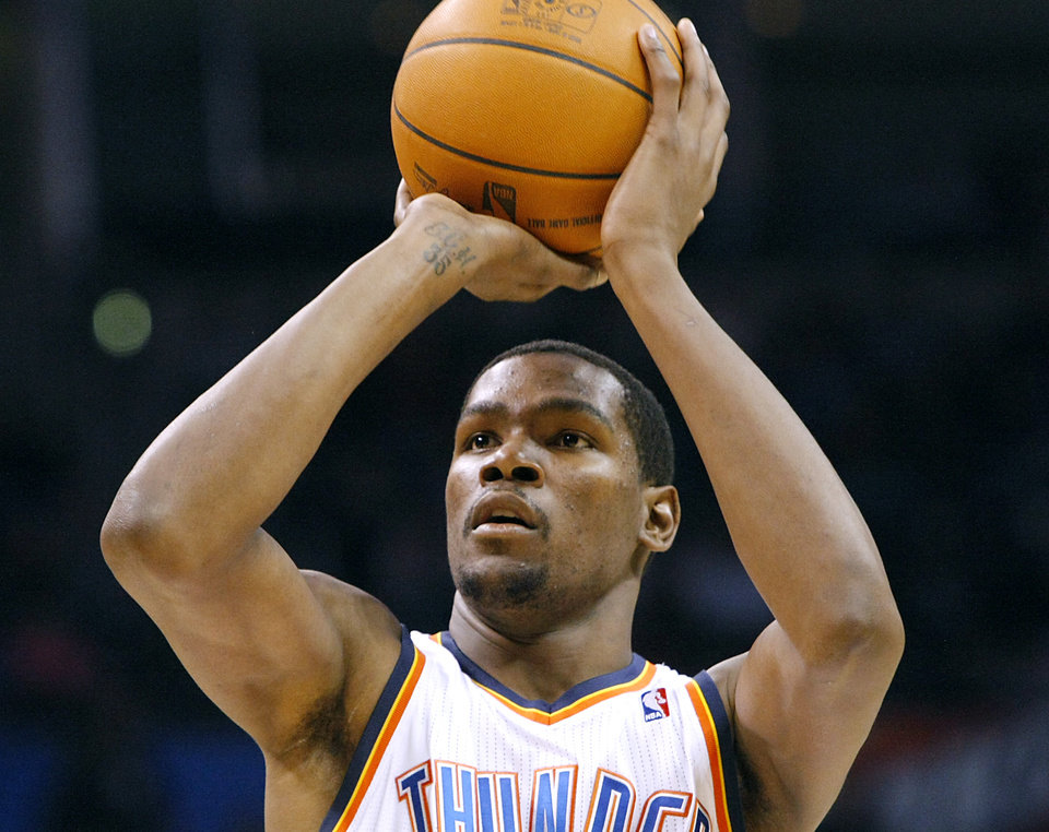 Oklahoma City's Kevin Durant shoots a free throw against Houstonduring their NBA basketball game at the OKC Arena in downtown Oklahoma City on Wednesday, Nov. 17, 2010. Photo by John Clanton, The Oklahoman