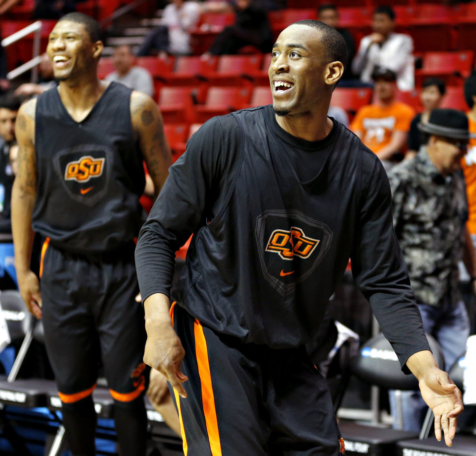 OSU's Markel Brown watches his shot during practice Thursday in San Diego.                    Photo by Bryan Terry, The Oklahoman