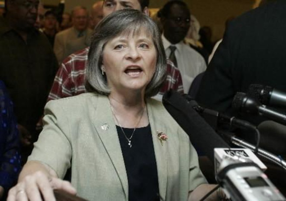 Oklahoma state Rep. Sally Kern said the nation is drifting away from traditional Christian values as she sought signatures for a morality proclamation at a state Capitol rally attended by about 250 people including a group of ministers and their followers, four other state lawmakers and protesters who shouted