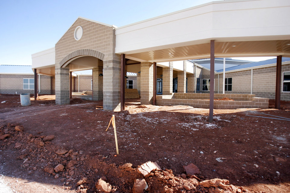 Photo - This is the front of Grove Valley Elementary School in northwest Oklahoma City, OK, Thursday, Feb. 5, 2009.  The new elementary school in Deer Creek is set to open in August. BY PAUL HELLSTERN, THE OKLAHOMAN