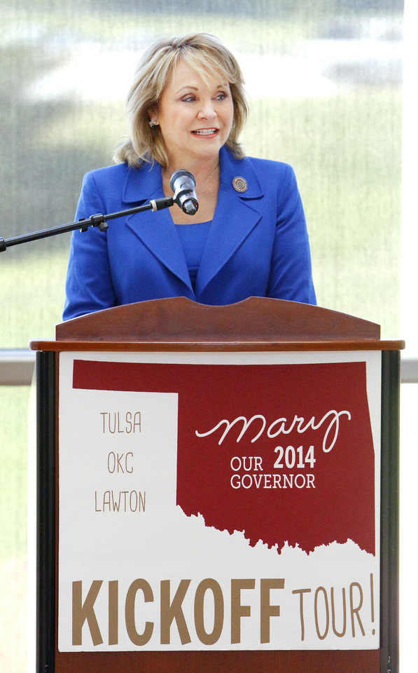 Photo - Gov. Mary Fallin begins her re-election campaign Thursday at the Oklahoma History Center in Oklahoma City. Fallin held rallies in Tulsa, Oklahoma City and Lawton on Thursday. Photo by Paul B. Southerland, The Oklahoman  PAUL B. SOUTHERLAND