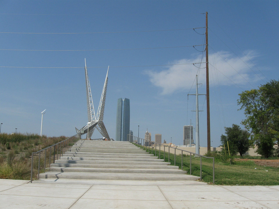 The south entry to the Skydance bridge is at the gateway to Hub Cap Alley. Photo by Steve Lackmeyer, The Oklahoman