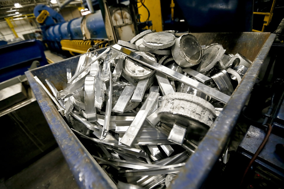 All aluminum scraps are recycled to be used again at the MD Building Products plant on Wednesday, Jan. 2, 2013, in Oklahoma City, Okla. Photo by Chris Landsberger, The Oklahoman