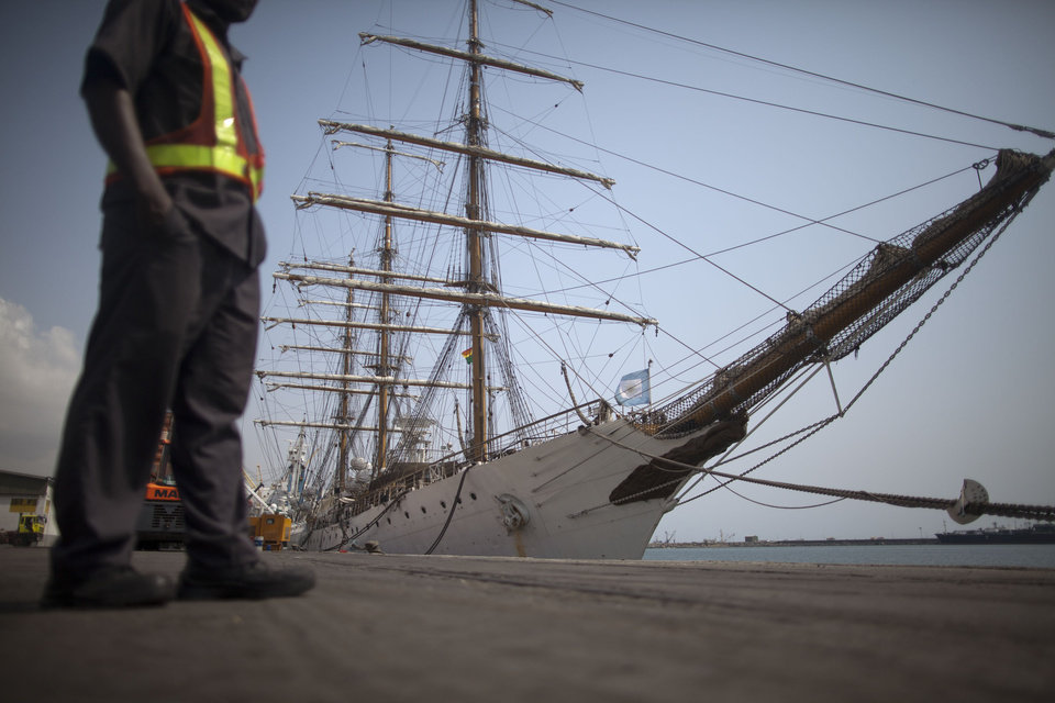Argentina's three-masted navy training tall ship ARA Libertad, which was seized on Oct. 2 as collateral for unpaid bonds dating from Argentina's economic crisis a decade ago, sits docked at the port in Tema, outside Accra, in Ghana Friday, Dec. 14, 2012. A U.N. court is expected on Saturday to deliver its order on whether the Argentine navy ship being held at the Ghanaian port should be released. (AP Photo/Gabriela Barnuevo)