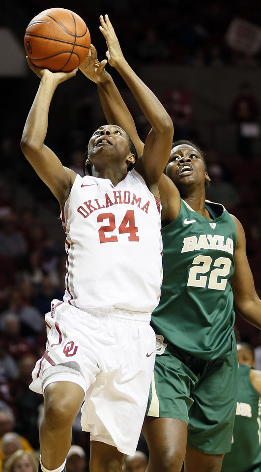 Oklahoma\'s Sharane Campbell (24) shoots in front of Baylor\'s Sune Agbuke (22) during a women\'s college basketball game between the University of Oklahoma (OU) and Baylor at the Lloyd Noble Center in Norman, Okla., Monday, Feb. 25, 2013. Photo by Nate Billings, The Oklahoman