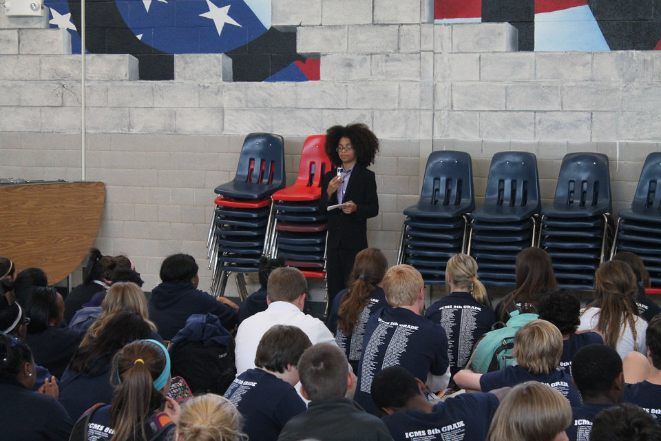 Joshua Wright, 12, head of Joshua's Heart in Miami, Fla., speaks to a crowd of students at Independence Charter Middle School in Oklahoma City during his recent visit hosted by Feed the Children. PHOTO PROVIDED. <strong></strong>