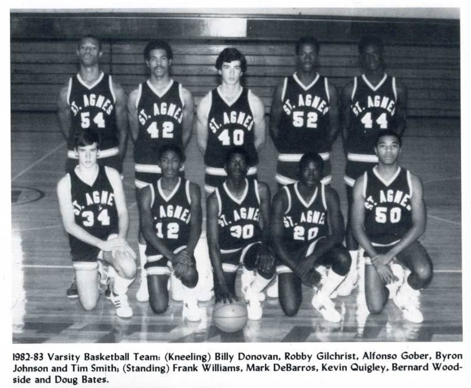 Photo -  Billy Donovan — front row, far left — poses for a team photo with the rest of the St. Agnes Cathedral (N.Y.) varsity team. [Photo provided]