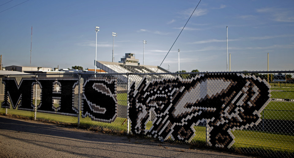 Photo - Muleshoe High School's stadium is seen in Muleshoe, Texas, hometown of Oklahoma's offensive coordinator Lincoln Riley, on Wednesday, June 24, 2015. Photo by Bryan Terry, The Oklahoman