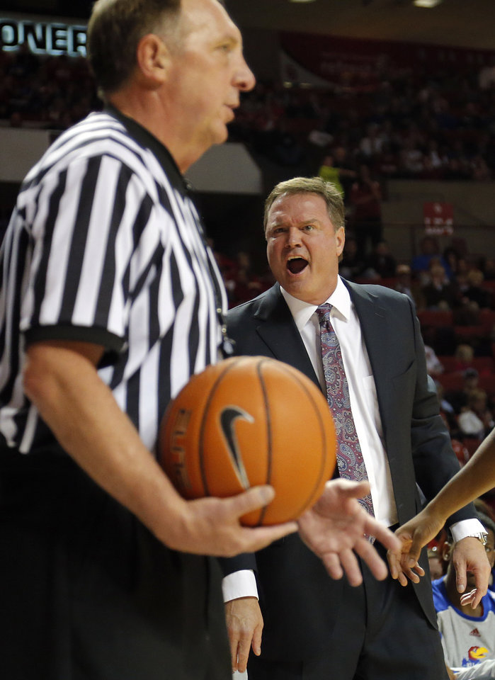 Photo - Kanas coach Bill Self yells at the official during the NCAA college basketball game between the University of Oklahoma Sooners (OU) and the University of Kansas (KU) Jayhawks at Lloyd Nobel Center in Norman,  Okla. on Wednesday, Jan. 8, 2014.   .Photo by Chris Landsberger, The Oklahoman