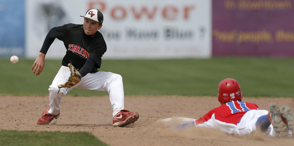 Caney Valley 's Troy Gagan waits for the ball as Silo's Lance House slides to second in the third inning of a Class 2A state baseball tournament game in Shawnee, Okla., Friday, May 10, 2013. Photo by Bryan Terry, The Oklahoman