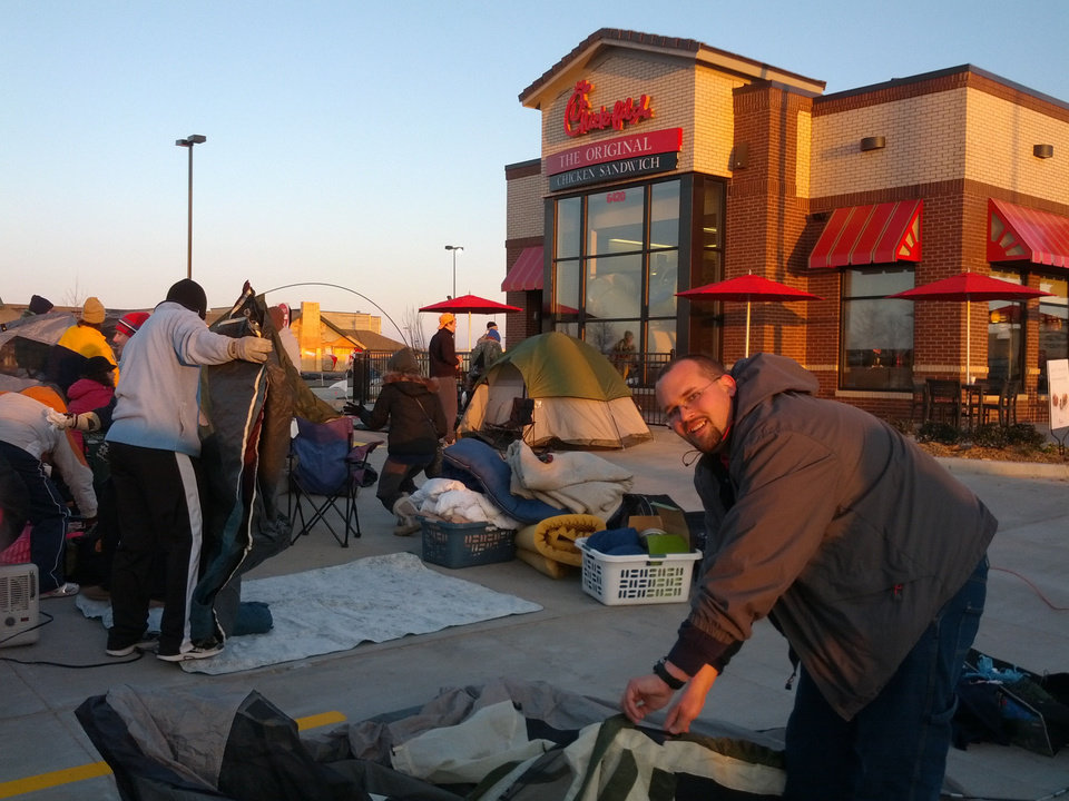 Chick-fil-A fans set up tents in preparation for a 24-hour campout at Oklahoma City's newest location in an attempt to win a year's worth of free food.  PHOTOS PROVIDED