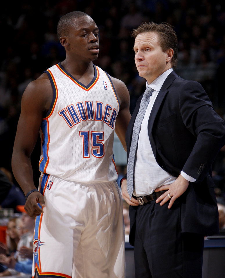 Oklahoma City coach Scott Brooks talks with Oklahoma City's Reggie Jackson (15) during the NBA game between the Oklahoma City Thunder and the New York Knicks at Chesapeake Energy Arena in Oklahoma CIty, Saturday, Jan. 14, 2012. Photo by Bryan Terry, The Oklahoman