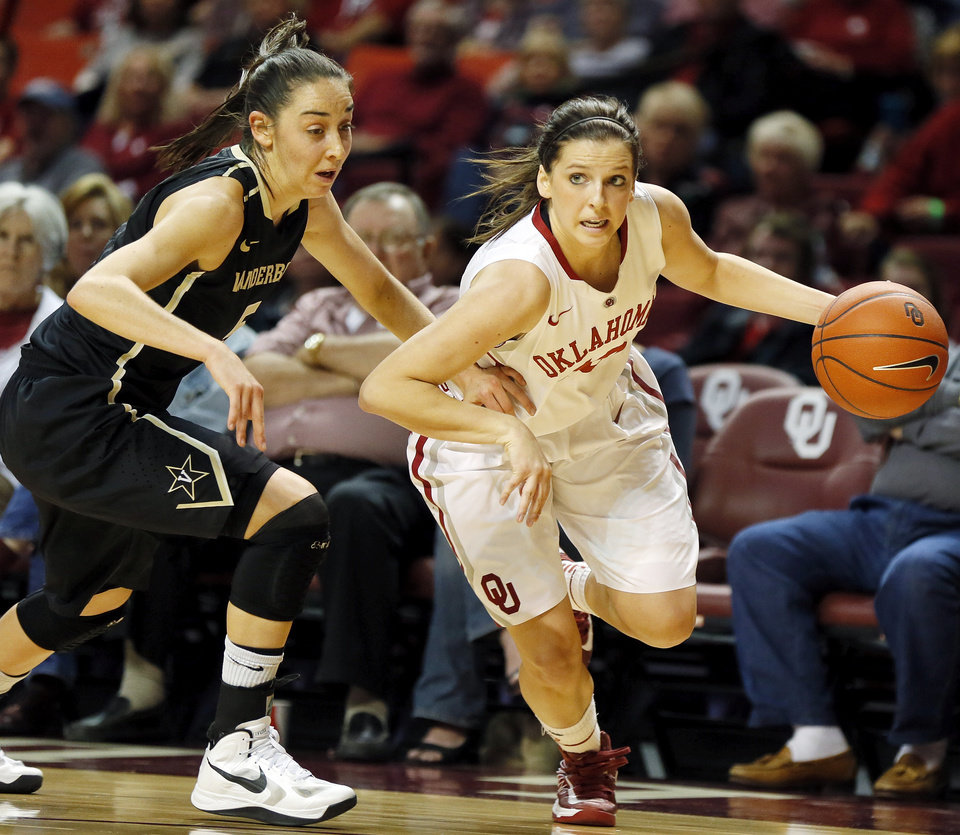 OU\'s Morgan Hook (10) drives the ball against Vanderbilt\'s Kady Schrann (5) in the first half during a women\'s college basketball game between the University of Oklahoma Sooners and the Vanderbilt Commodores at Lloyd Noble Center in Norman, Okla., Sunday, Dec. 16, 2012. Photo by Nate Billings, The Oklahoman