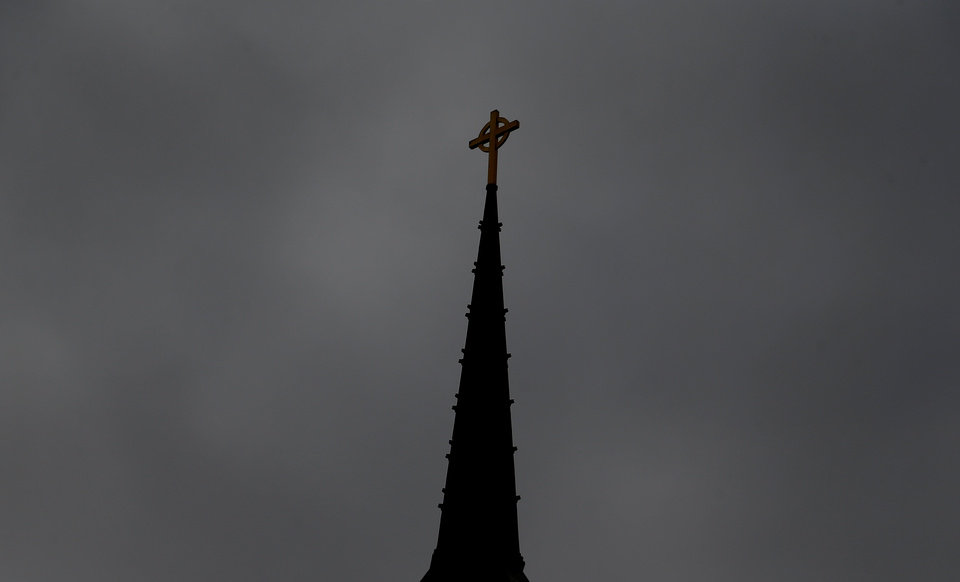 Photo - The Steeple is pictured at the First Presbyterian Church in Edmond, Okla.,  Thursday,Jan. 24, 2013.Photo by Sarah Phipps, The Oklahoman