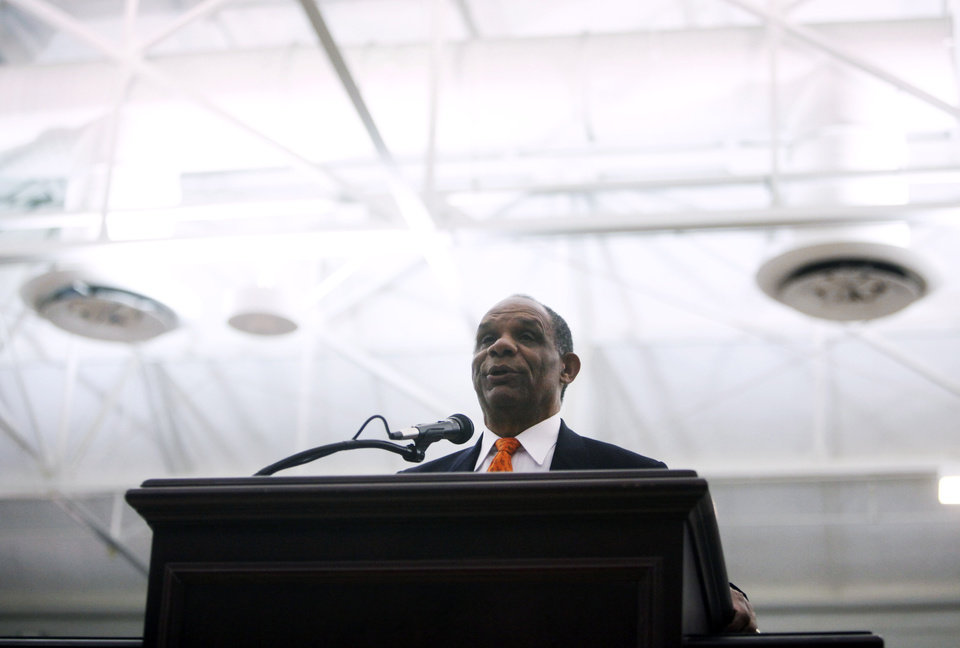 Photo - Langston athletic direct Mike Garrett speaks at a press conference introducing Women's basketball great Cheryl Miller as the head coach of Langston's women's basketball program on Tuesday, April 29, 2014 Photo by KT King, The Oklahoman