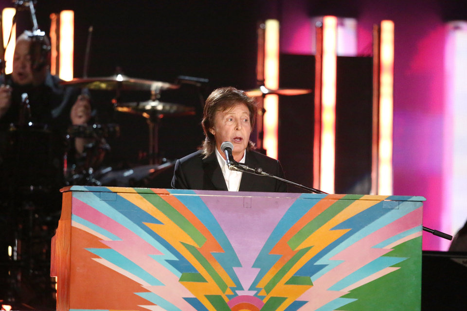 """Photo - Paul McCartney performs """"Queenie Eye"""" at the 56th annual Grammy Awards at Staples Center on Sunday, Jan. 26, 2014, in Los Angeles. (Photo by Matt Sayles/Invision/AP)"""