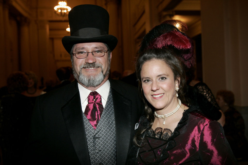 Photo - Rick and Stacy Staton of Guthrie, at the Oklahoma Centennial Statehood Inaugural Ball, Saturday, Nov. 17, 2007, at the Guthrie Scottish Rite Masonic Center, in Guthrie, Okla. By Bill Waugh, The Oklahoman