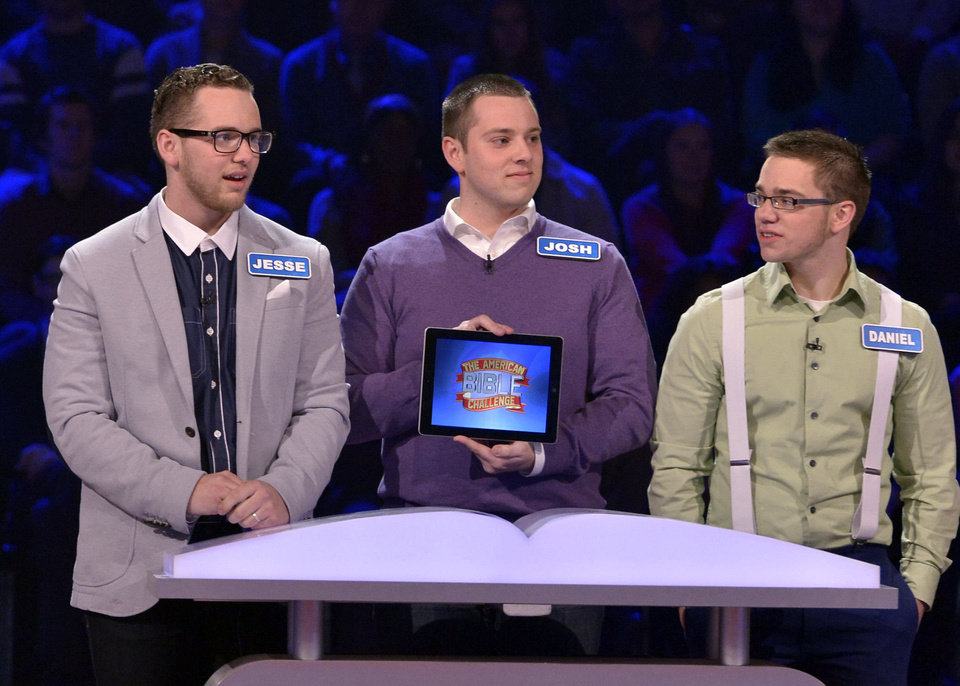 "An episode featuring Oklahomans Jesse, Joshua and Daniel Wagner of Owasso will be aired Thursday on the Game Show Network's popular new show ""The American Bible Challenge."" Photo provided  <strong>Lisa Rose</strong>"
