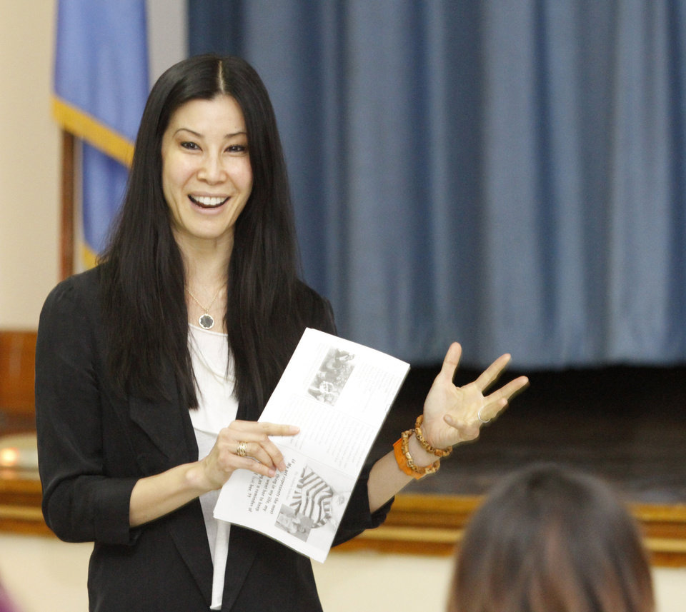 Journalist and television star Lisa Ling talks to girls at Emerson Alternative High School in Oklahoma City, Thursday, February  16,  2012. Photo By Steve Gooch, The Oklahoman