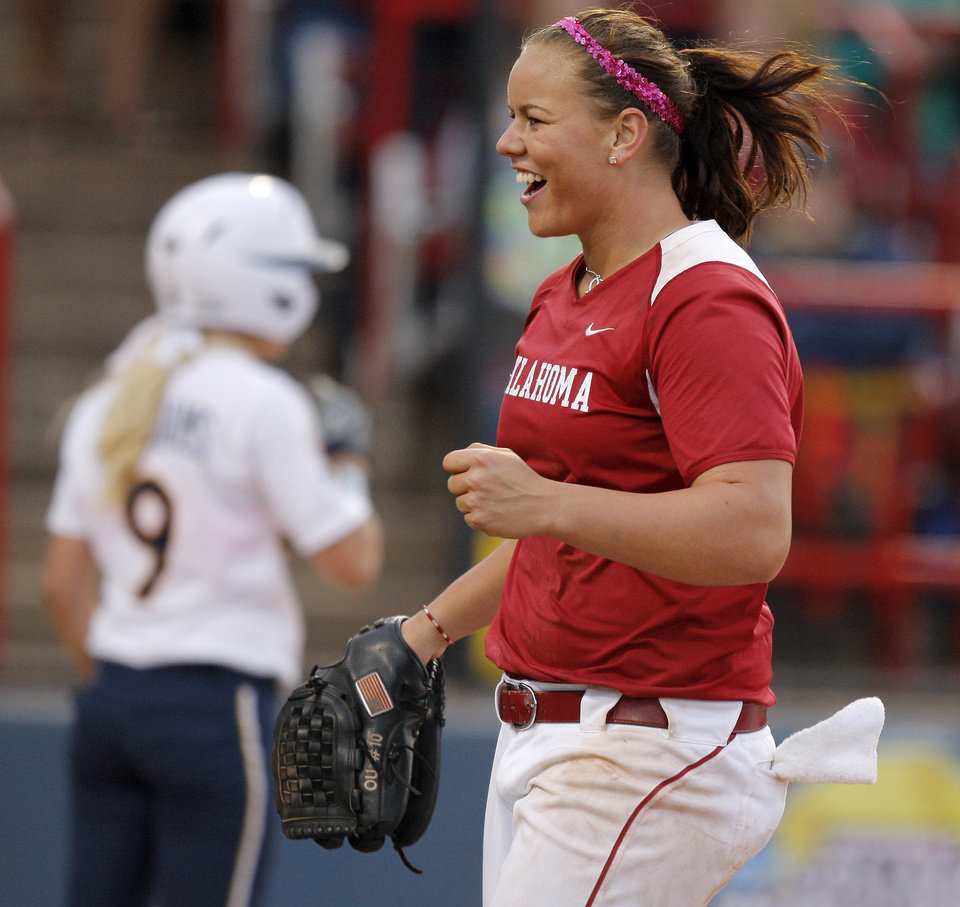 Oklahoma's Keilani Ricketts reacts during a Women's College World Series game against California at ASA Hall of Fame Stadium in Oklahoma City, Friday, June 1, 2012.  Photo by Bryan Terry, The Oklahoman