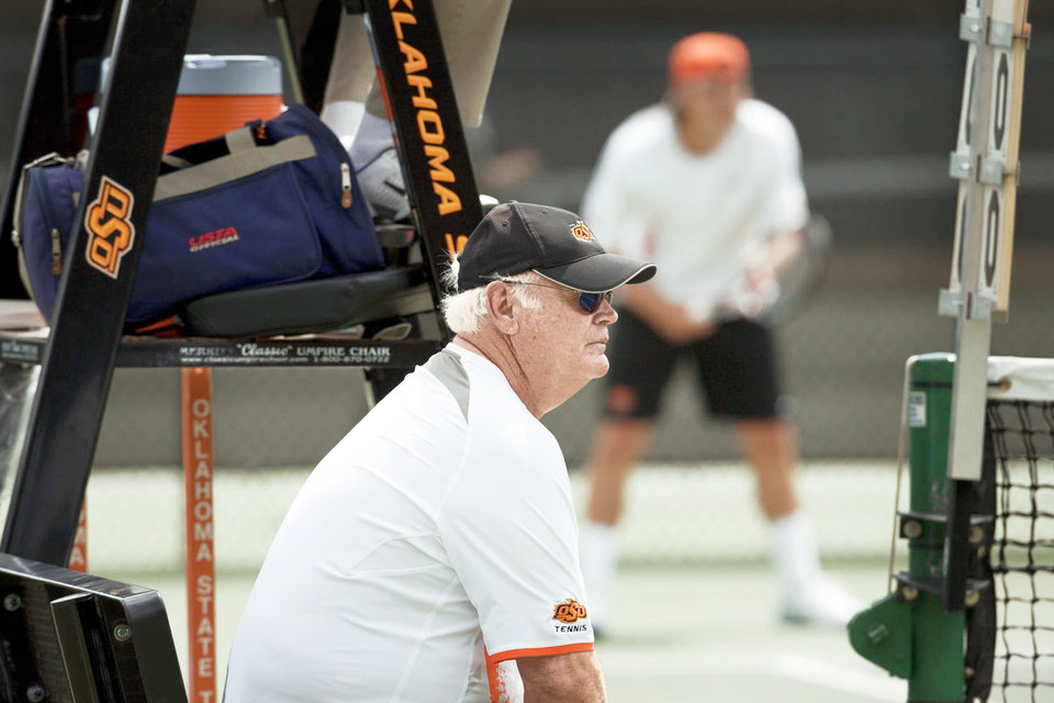 Photo - James Wadley has been Oklahoma State's tennis coach since 1972. PHOTO PROVIDED
