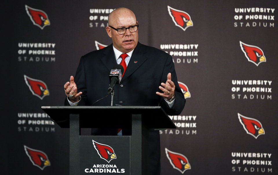 Arizona Cardinals new head coach Bruce Arians speaks to the media after he was introduced during an NFL football news conference at the team's training facility Friday, Jan. 18, 2013, in Tempe, Ariz. (AP Photo/Ross D. Franklin)