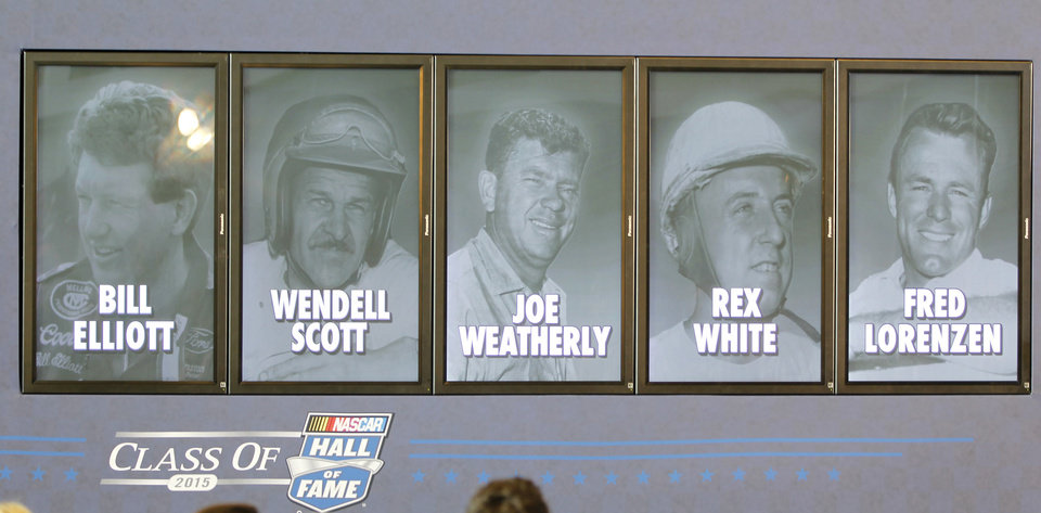 Photo - Pictures of the  five inductees into the NASCAR Hall of Fame class of 2015 are displayed, from left, Bill Elliott, Wendell Scott, Joe Weatherly, Rex White, and Fred Lorenzen, during an announcement in Charlotte, N.C., Wednesday, May 21, 2014. (AP Photo/Terry Renna)