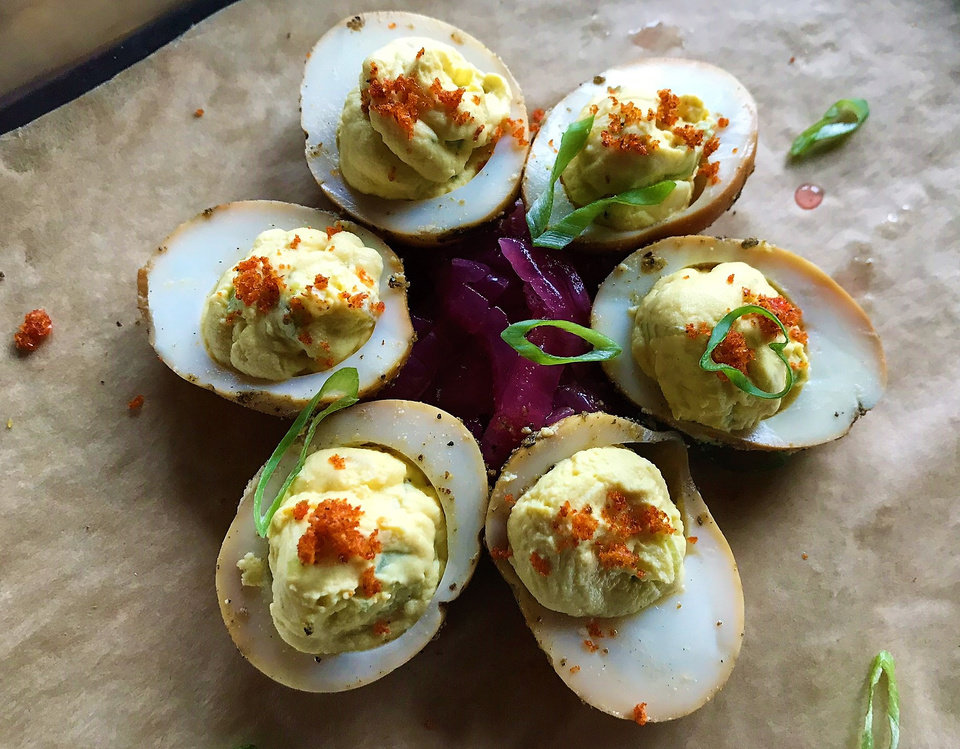 Photo - Deviled eggs from The Smoking Boar in northwest Oklahoma City last week. [Dave Cathey/The Oklahoman]