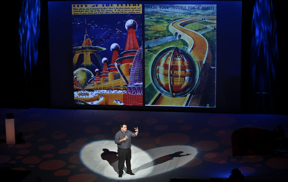 Photo - Executive director of Poptech, Andrew Zolli speaks during the session 'Beyond Imagination: Technology Aiding Creative Thought' during the Creativity World Forum at the Cox Convention Center on Wednesday, Nov. 17, 2010, in Oklahoma City, Okla.  Photo by Chris Landsberger, The Oklahoman