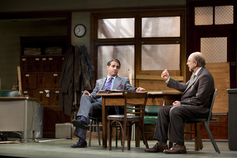 "This undated publicity photo released by Jeffrey Richards Associates shows Bobby Cannavale, left, and Richard Schiff in a scene from ""Glengarry Glen Ross"" at the Gerald Schoenfeld Theatre in New York. (AP Photo/Jeffrey Richards Associates)"