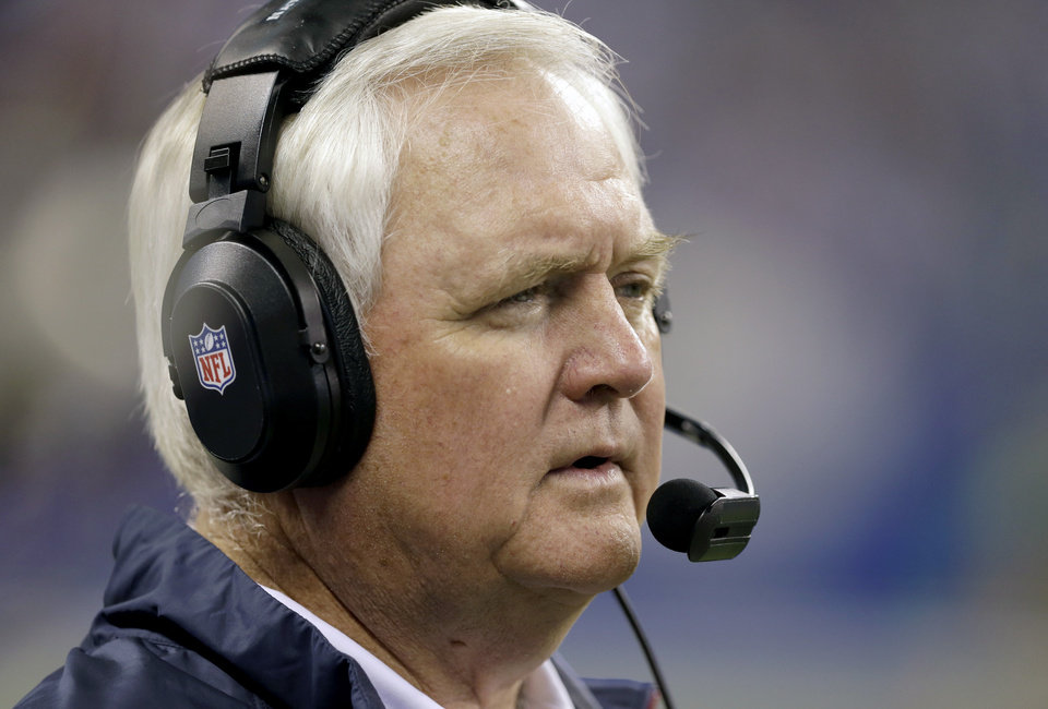 Photo - Houston Texans head coach Wade Phillips watches from the sideline during the second half of an NFL football game against the Indianapolis Colts in Indianapolis, Sunday, Dec. 15, 2013. (AP Photo/Darron Cummings)
