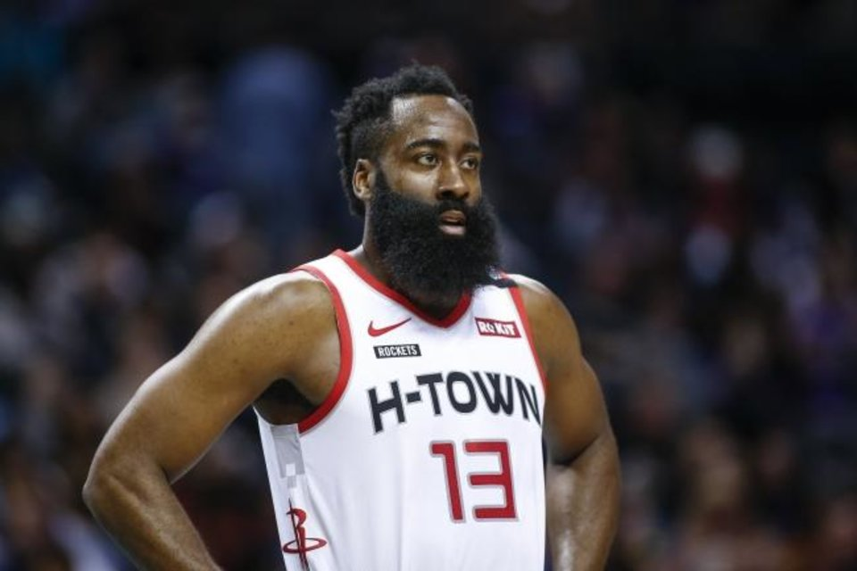 Photo -  The Thunder will not have its top option available in Game 1 to guard Houston's James Harden, who led the NBA in scoring for the third consecutive season. [AP Photo/Nell Redmond]