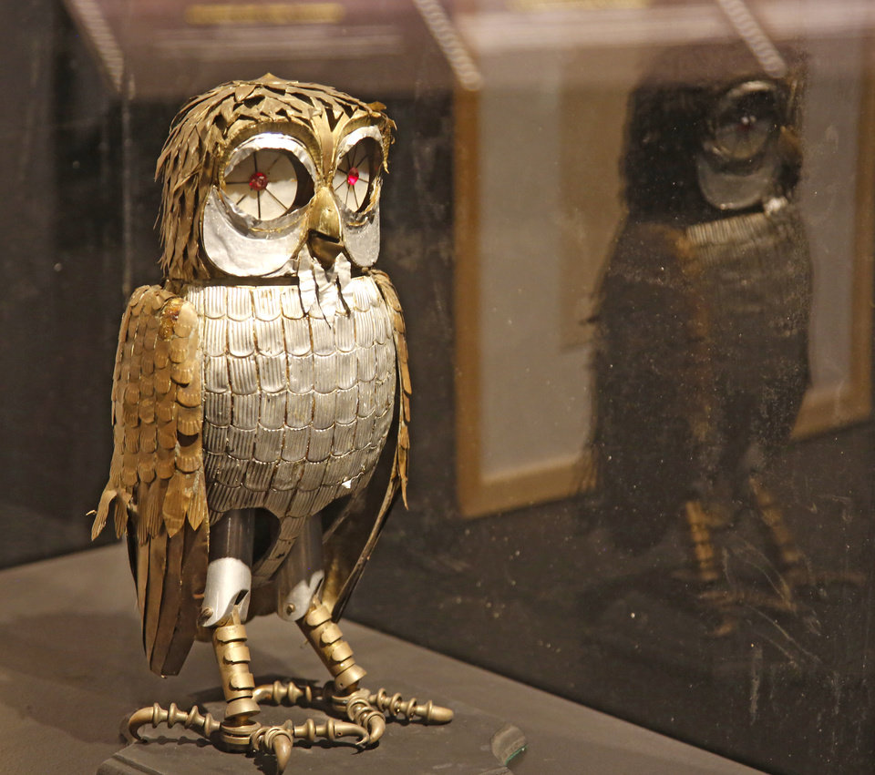 "Photo - Bubo the owl from ""Clash of the Titans"" on display in the smART Space at Science Museum Oklahoma in Oklahoma City, Monday July 24, 2017. Photo By Steve Gooch, The Oklahoman"