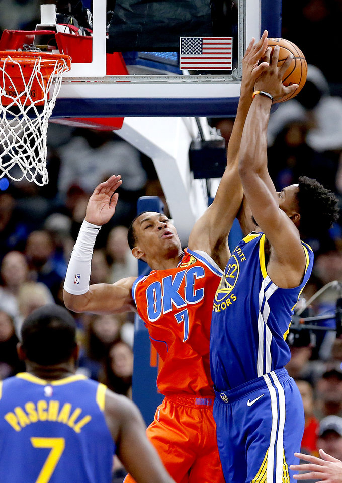 Photo - Oklahoma City's Darius Bazley (7) blocks the shot of Golden State's Glenn Robinson III (22) during the NBA game between the Oklahoma City Thunder and Golden State Warriors at Chesapeake Energy Arena,  Sunday, Oct. 27, 2019. Thunder won 120-92.[Sarah Phipps/The Oklahoman]