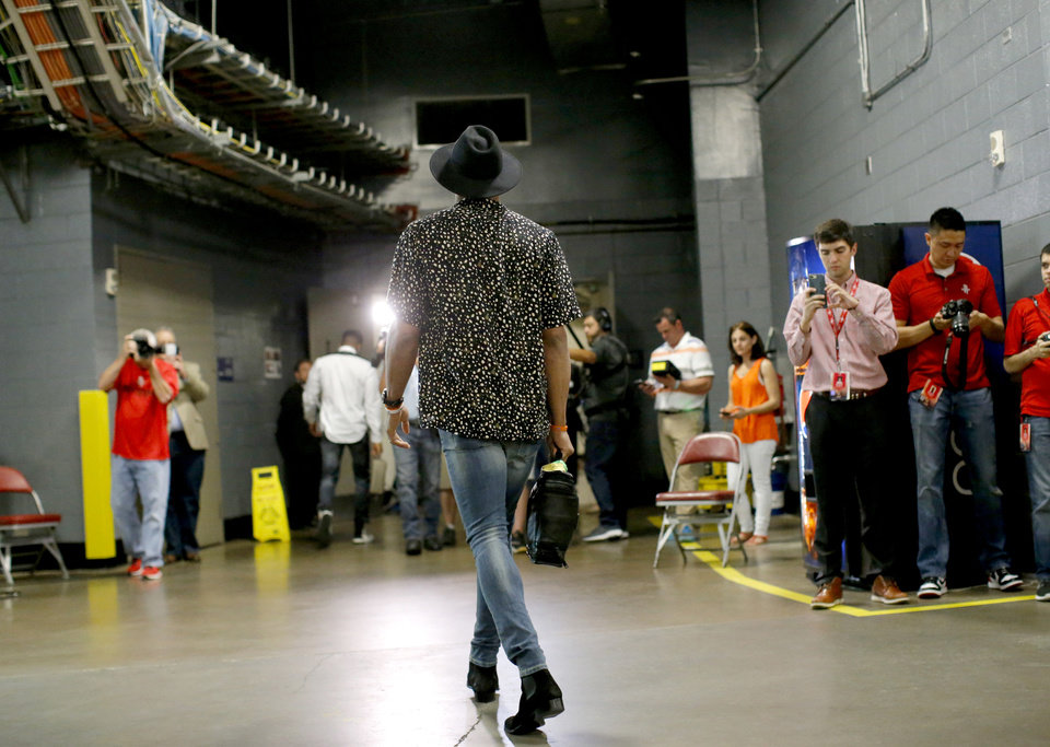 Photo - Oklahoma City's Russell Westbrook enters the arena before Game 5 in the first round of the NBA playoffs between the Oklahoma City Thunder and the Houston Rockets at the Toyota Center in Houston, Texas,  Tuesday, April 25, 2017.  Photo by Sarah Phipps, The Oklahoman