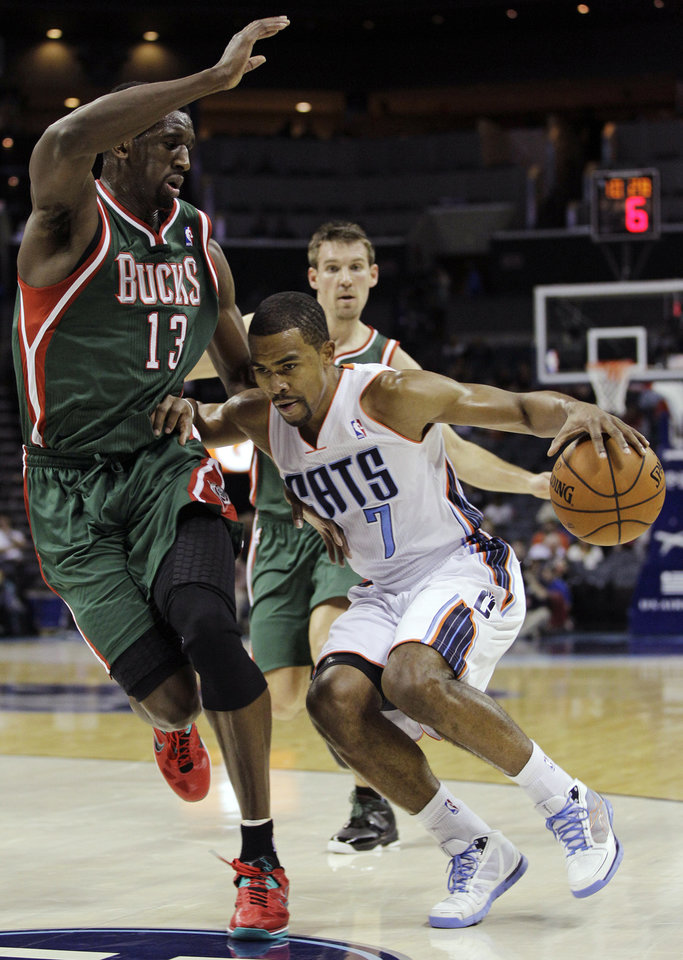 Charlotte Bobcats' Ramon Sessions (7) drives past Milwaukee Bucks' Ekpe Udoh (13) during the first half of an NBA basketball game in Charlotte, N.C., Monday, Nov. 19, 2012. (AP Photo/Chuck Burton)