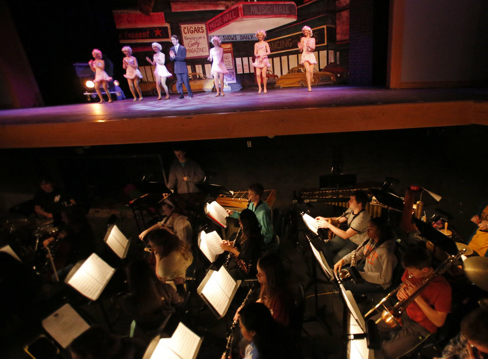"Students rehearse for ""Crazy for You"" on Tuesday at Edmond North High School."