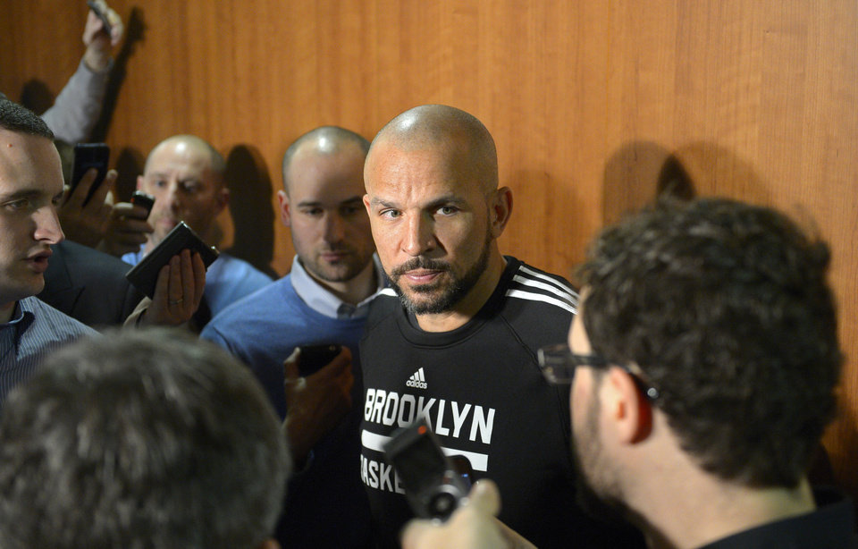Photo - Brooklyn Nets head coach Jason Kidd speaks during a news conference prior to an NBA basketball game against the Los Angeles Lakers, Sunday, Feb. 23, 2014, in Los Angeles. (AP Photo/Mark J. Terrill)