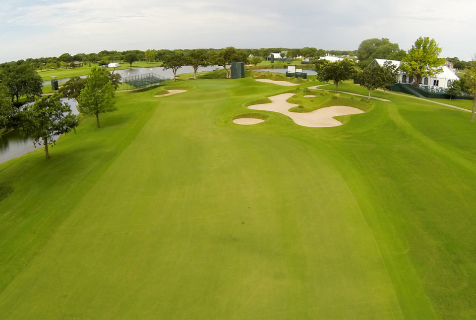 Photo - 16th green. Aerials of Oak Tree National course in Edmond, site of the 2014 U.S. Senior Open, Tuesday, July 1, 2014. Photo by Carl Shortt, Jr., for The Oklahoman