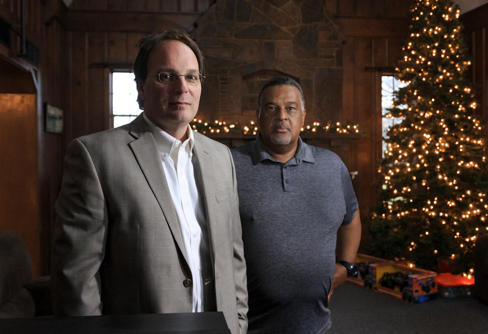 Photo -  Owner Brad Rice, left, and Speck Home for Boys Executive Director Mike McPherson say the former Haunted House restaurant offers an attractive mix of a country setting in the middle of Oklahoma City for teens in state custody. [Photo by Chris Landsberger, The Oklahoman]