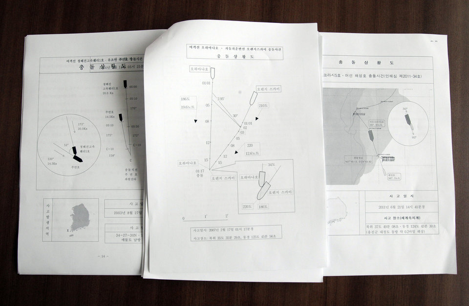 Photo - In this June 25, 2014 photo, graphic illustrations in the document, center, of the box on the bottom right show a zoomed-in image of the two ships Ohamana, at diagram left, and Orange Sky crashing at the moment of collision on February 17, 2007. The crash was a third accident by the Ohamana, a Chonghaejin car ferry that plied the same route as Sewol, in the span of just one year. An investigator at the Korean Maritime Safety Tribunal said in the 2008 report that Chonghaejin repeatedly failed to come up with reform measures and recommended that the company improve how it manages safety. But problems continued.(AP Photo/Ahn Young-joon)