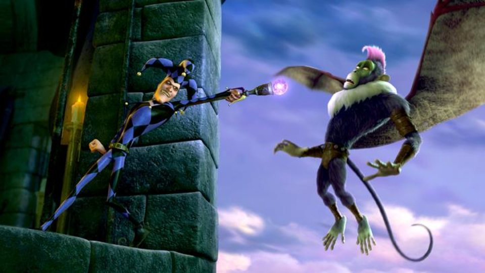 Photo -       The Jester (voice of Martin Short) and a Flying Monkey in Legends of Oz: Dorothy's Return.