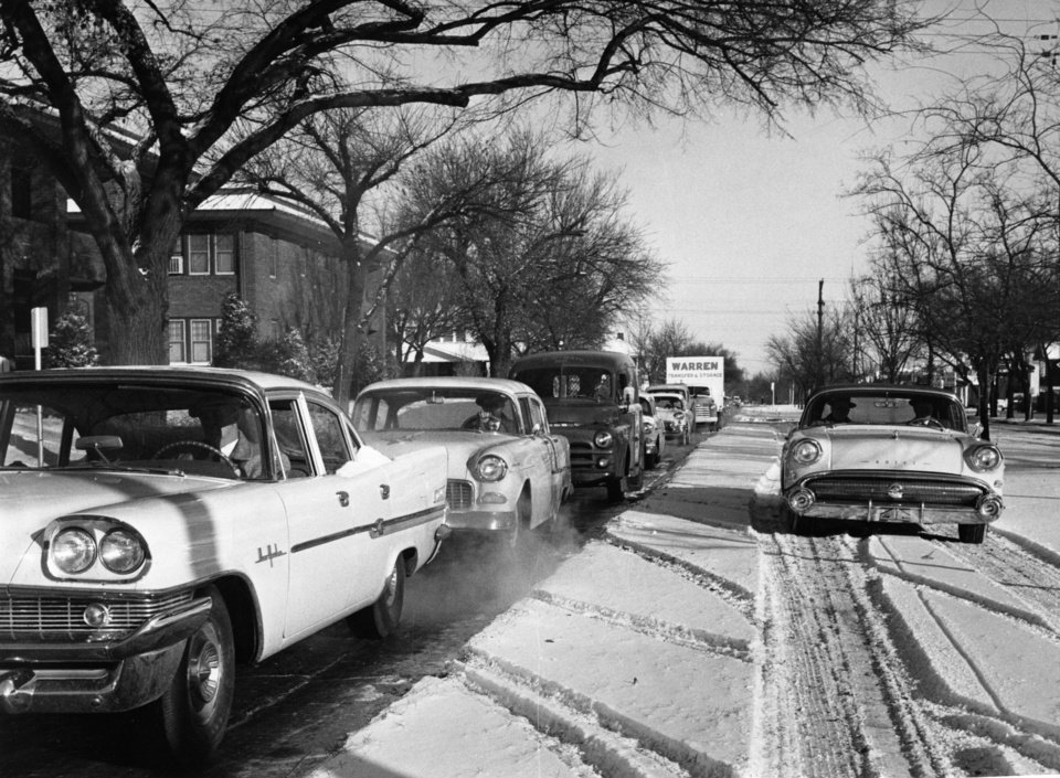 North Robinson Avenue is clogged with rush-hour traffic in this winter scene from 1958. The Oklahoman archives