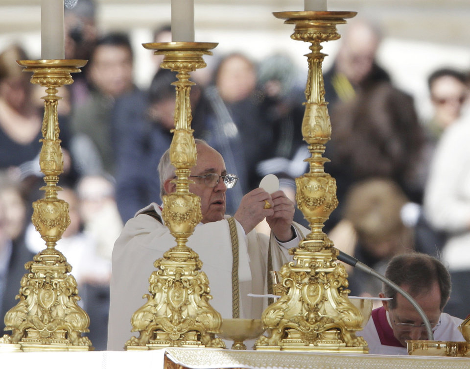 Pope Francis celebrates Mass during his inauguration in St. Peter's Square at the Vatican, Tuesday, March 19, 2013. (AP Photo/Gregorio Borgia)