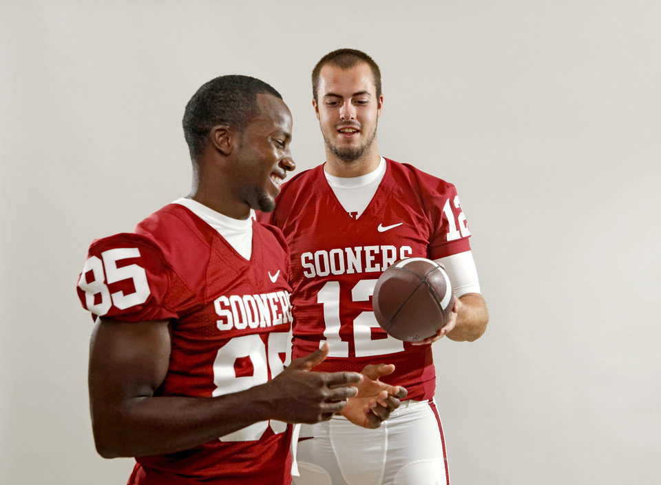 The University of Oklahoma's Ryan Broyles, left, and Landry Jones pose for a photo during OU's football media day in Norman, Okla., Saturday August 6, 2011. Photo by Bryan Terry, The Oklahoman