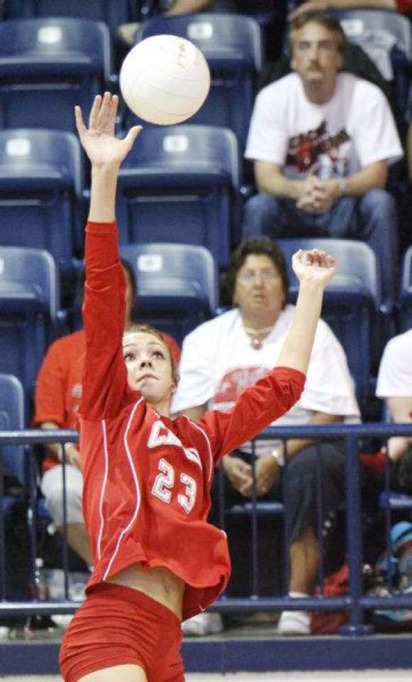 Photo - Cache player Madison Ward returns the ball to Oklahoma Christian in the Class 4A State Volleyball tournament at at Shawnee High School in Shawnee, OK, Friday, Oct. 7, 2011. By Paul Hellstern, The Oklahoman ORG XMIT: KOD