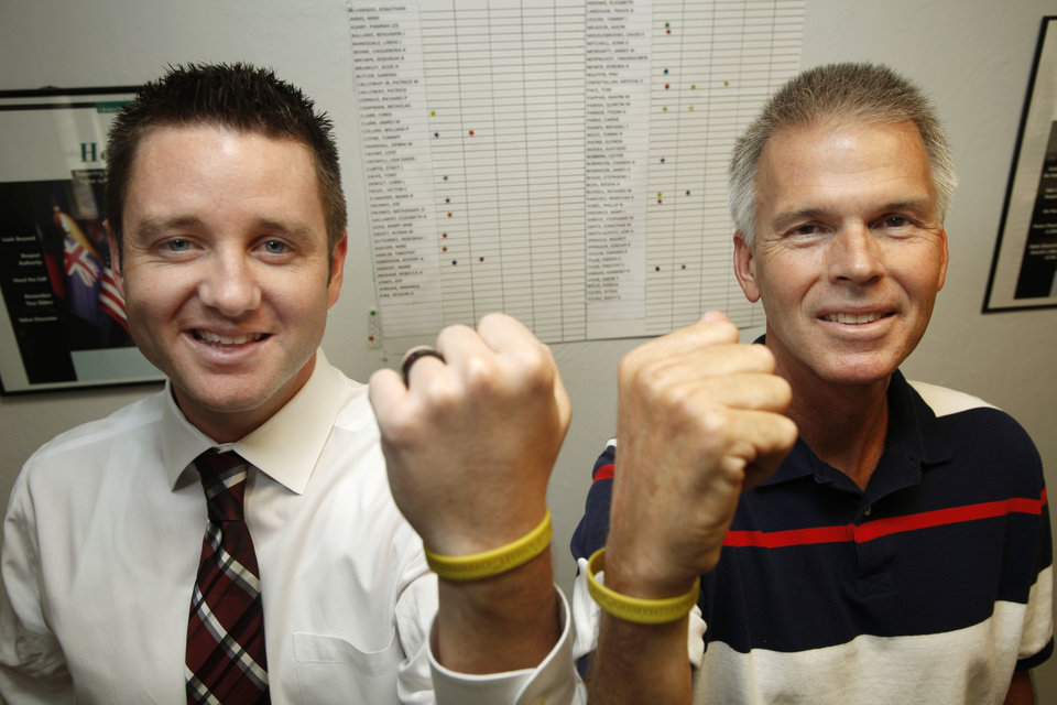 Photo - Jason Meador, left, and Tom Pace, of PaceButler Corp., display wristbands used for a companywide ethics campaign. In the background is a chart, showing which of the firm's 75 employees have gone at least five consecutive days in July without complaining, gossiping or lying, qualifying them for a $500 monthly drawing. Photo by Steve Gooch, The Oklahoman