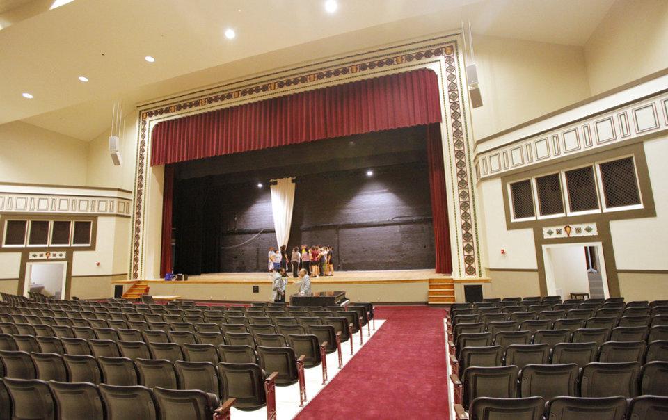 Workers discovered decorative plaster work at the Capitol Hill High School auditorium during MAPS for Kids renovations. Plans were altered to include the work, which dates to the 1920s, in the new design. <strong>PAUL B. SOUTHERLAND - The Oklahoman</strong>