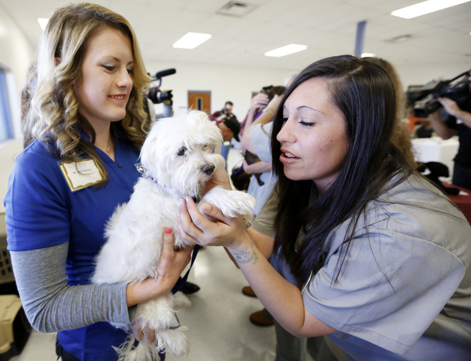 Photo - Central Oklahoma Humane Society's Amy Shrodes, left, introduces Lady to Mabel Bassett Correctional Center inmate Sarah Gannis in McLoud on Friday.PHOTO BY STEVE GOOCH, THE OKLAHOMAN  Steve Gooch