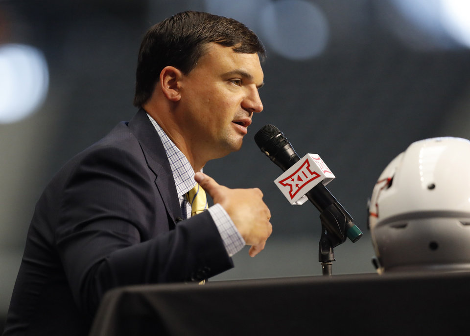 Photo - West Virginia head coach Neal Brown speaks during Big 12 Conference NCAA college football media day Tuesday, July 16, 2019, at AT&T Stadium in Arlington, Texas. (AP Photo/David Kent)